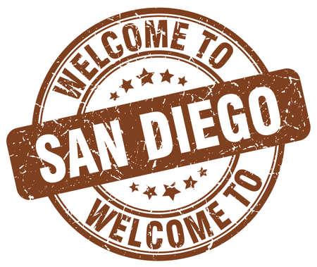san diego: welcome to San Diego brown round vintage stamp
