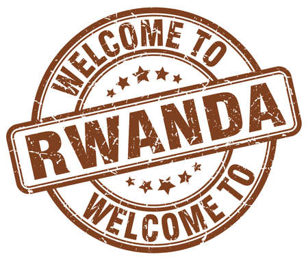rwanda: welcome to Rwanda brown round vintage stamp Illustration