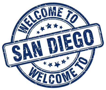 san diego: welcome to San Diego blue round vintage stamp