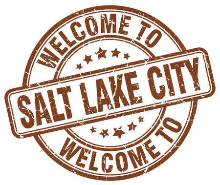 salt lake city: welcome to Salt Lake City brown round vintage stamp