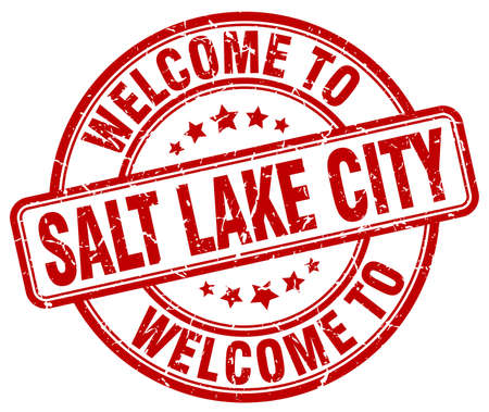 salt lake city: welcome to Salt Lake City red round vintage stamp