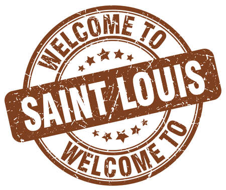 louis: welcome to Saint Louis brown round vintage stamp