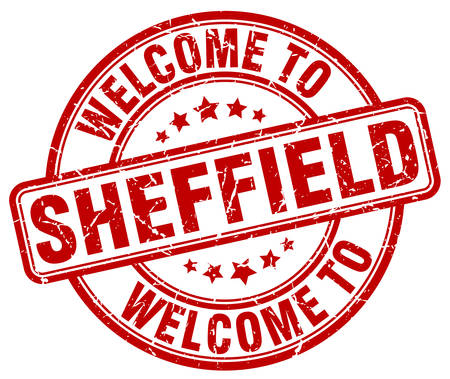 sheffield: welcome to Sheffield red round vintage stamp