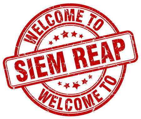 reap: welcome to Siem Reap red round vintage stamp