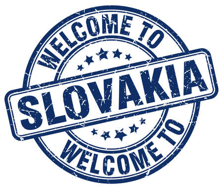 slovakia: welcome to Slovakia blue round vintage stamp