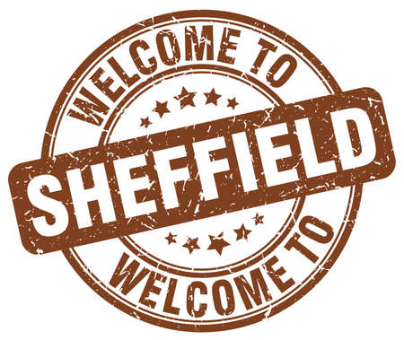 sheffield: welcome to Sheffield brown round vintage stamp