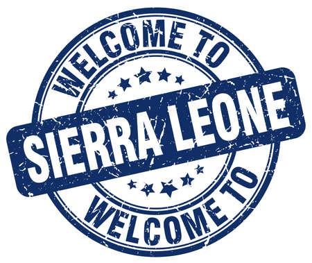 sierra: welcome to Sierra Leone blue round vintage stamp Illustration