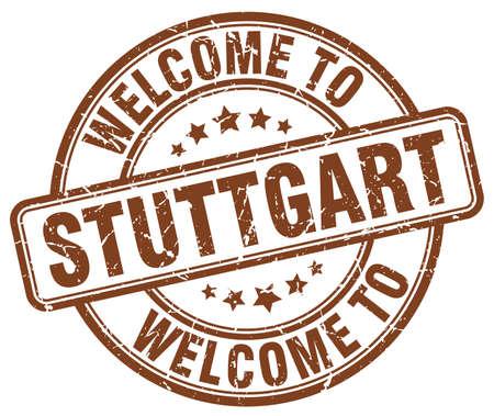 stuttgart: welcome to Stuttgart brown round vintage stamp