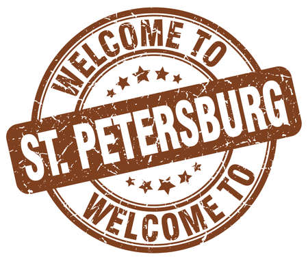 st petersburg: welcome to St. Petersburg brown round vintage stamp