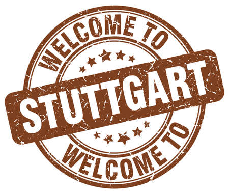stuttgart: welcome to Stuttgart brown round vintage stamp
