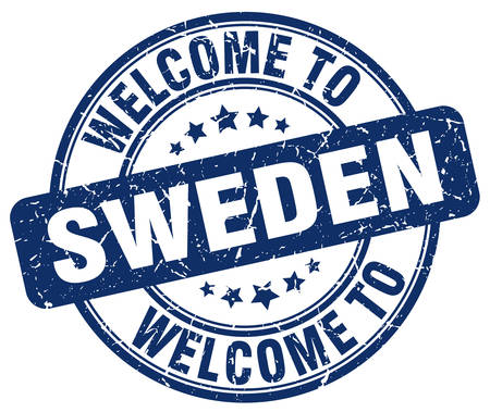 sweden: welcome to Sweden blue round vintage stamp