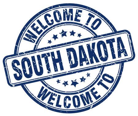 south dakota: welcome to South Dakota blue round vintage stamp