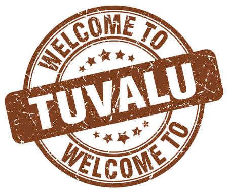 tuvalu: welcome to Tuvalu brown round vintage stamp Illustration