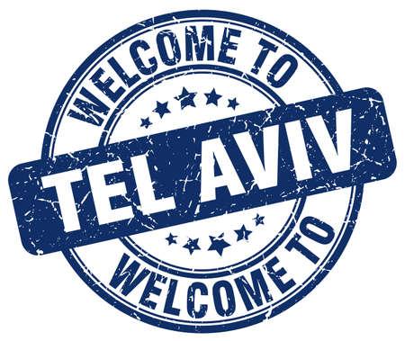 aviv: welcome to Tel Aviv blue round vintage stamp