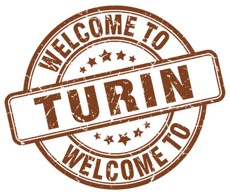 turin: welcome to Turin brown round vintage stamp