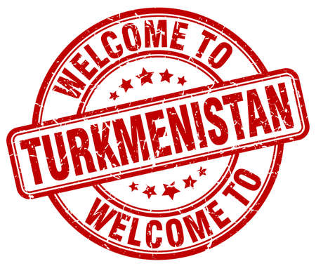 turkmenistan: welcome to Turkmenistan red round vintage stamp Illustration
