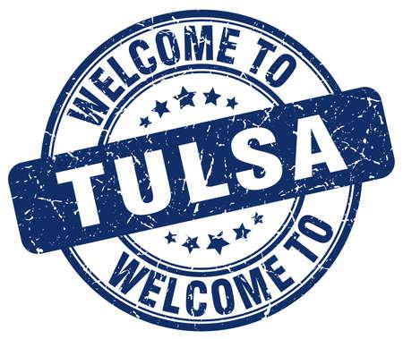 tulsa: welcome to Tulsa blue round vintage stamp