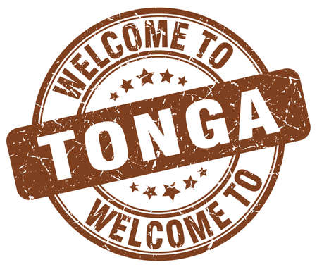 welcome to Tonga brown round vintage stamp Illustration