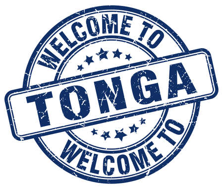 tonga: welcome to Tonga blue round vintage stamp