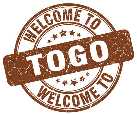 togo: welcome to Togo brown round vintage stamp