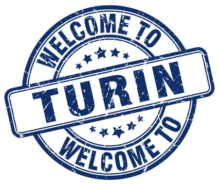 turin: welcome to Turin blue round vintage stamp