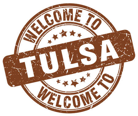 welcome to Tulsa brown round vintage stamp