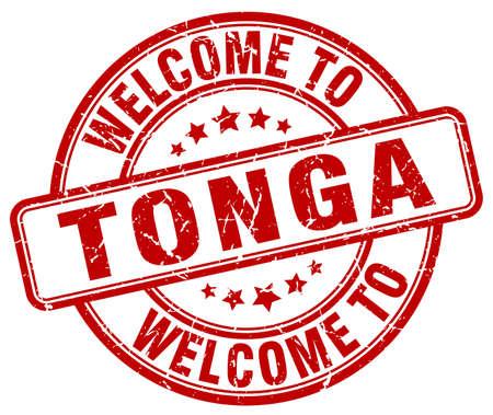 tonga: welcome to Tonga red round vintage stamp