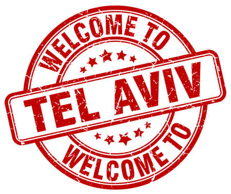 tel: welcome to Tel Aviv red round vintage stamp