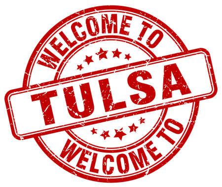 tulsa: welcome to Tulsa red round vintage stamp