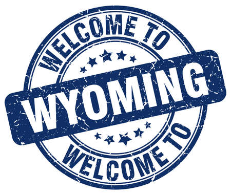 wyoming: welcome to Wyoming blue round vintage stamp Illustration