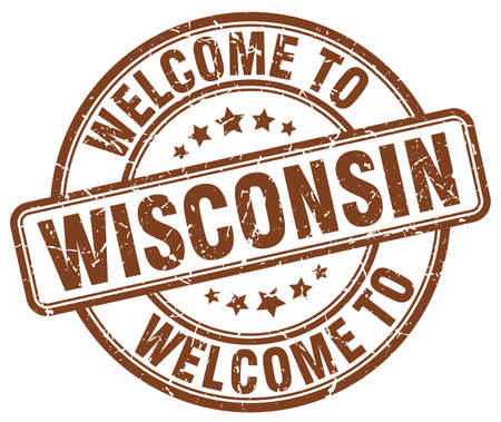 wisconsin: welcome to Wisconsin brown round vintage stamp