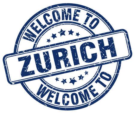 zurich: welcome to Zurich blue round vintage stamp