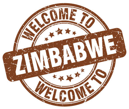 zimbabwe: welcome to Zimbabwe brown round vintage stamp