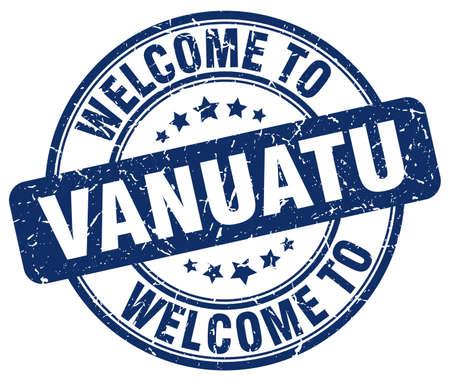 vanuatu: welcome to Vanuatu blue round vintage stamp