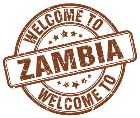 zambia: welcome to Zambia brown round vintage stamp