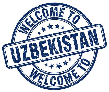 uzbekistan: welcome to Uzbekistan blue round vintage stamp Illustration
