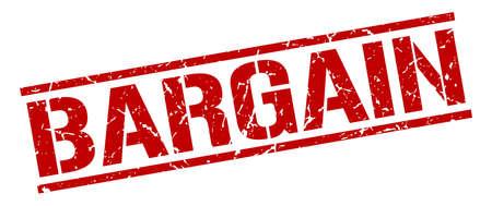 bargain: bargain red grunge square vintage rubber stamp