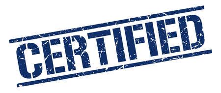certified: certified blue grunge square vintage rubber stamp