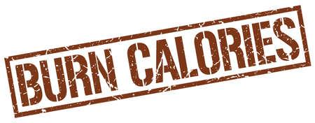 calories: burn calories brown grunge square vintage rubber stamp