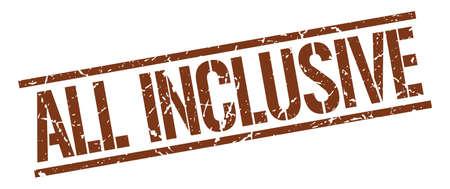 inclusive: all inclusive brown grunge square vintage rubber stamp Illustration