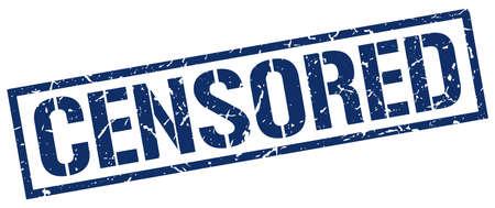 censored: censored blue grunge square vintage rubber stamp Illustration