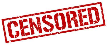 censored: censored red grunge square vintage rubber stamp Illustration