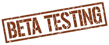 tester: beta testing brown grunge square vintage rubber stamp