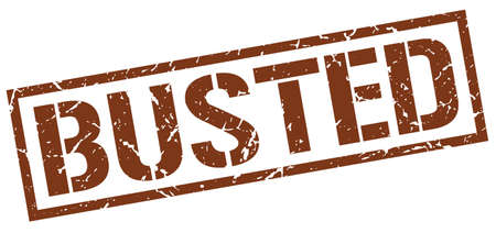 busted: busted brown grunge square vintage rubber stamp