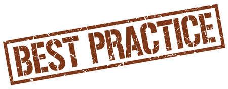 best practices: best practice brown grunge square vintage rubber stamp Illustration