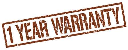 one year warranty: 1 year warranty brown grunge square vintage rubber stamp Illustration