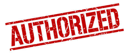 authorized: authorized red grunge square vintage rubber stamp