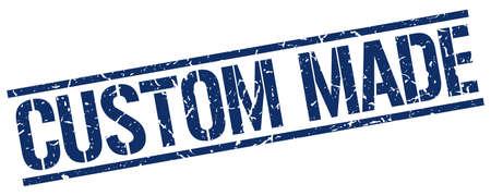 custom made: custom made blue grunge square vintage rubber stamp Illustration