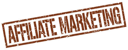 affiliate marketing: affiliate marketing brown grunge square vintage rubber stamp