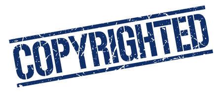 copyrighted: copyrighted blue grunge square vintage rubber stamp Illustration